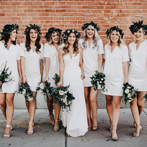 white mini dresses with a V-neckline and no detailing for a relaxed casual wedding