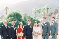 07 The bridesmaid was wearing a red kimono dress, and the groomsmen were rocking grey and black suits