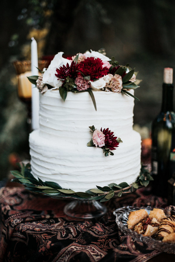 The wedding cake was done with fresh blooms and textural buttercream