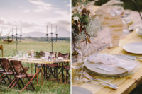 07 There were leather chairs, and the tablescape was done with clear glass, silver flatware, pampas grass and feathers