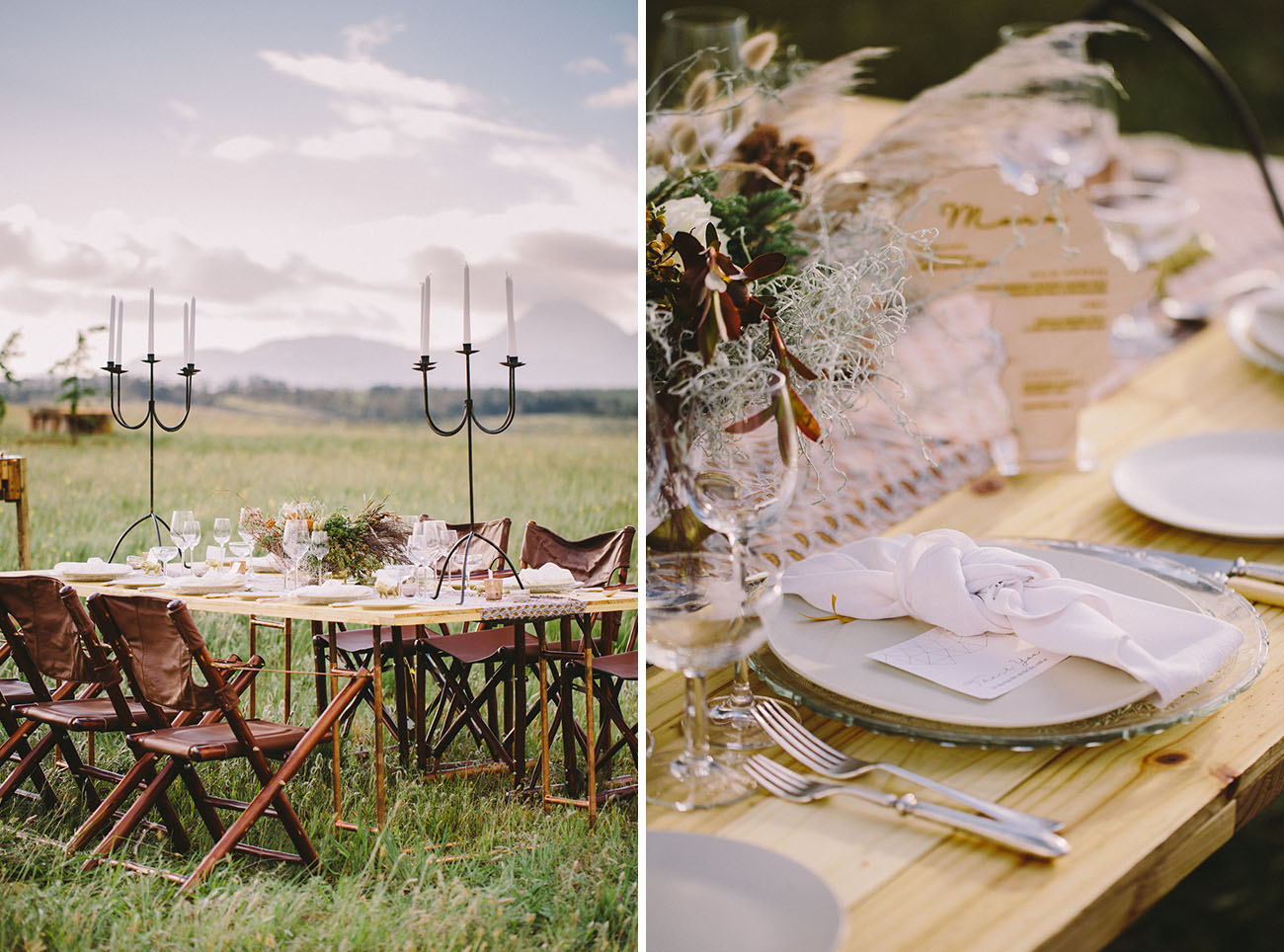 There were leather chairs, and the tablescape was done with clear glass, silver flatware, pampas grass and feathers