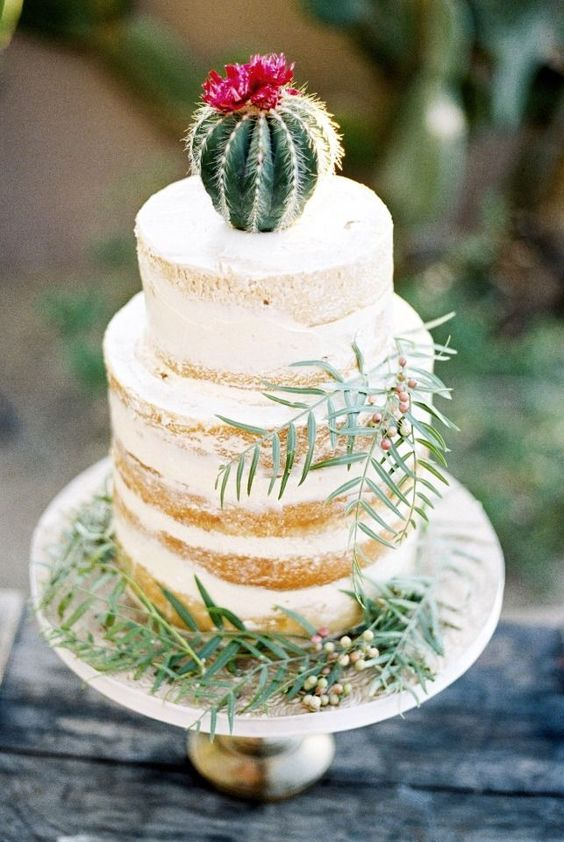 a naked wedding cake with greenery and a flourishing cactus on top for a desert wedding