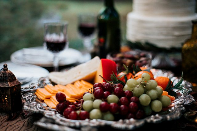 Delicious fruits, cheese and wine were served for the picnic
