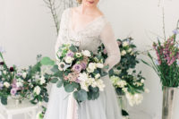 09 The bridal bouquet was done in lilacs and mauve plus white and greenery