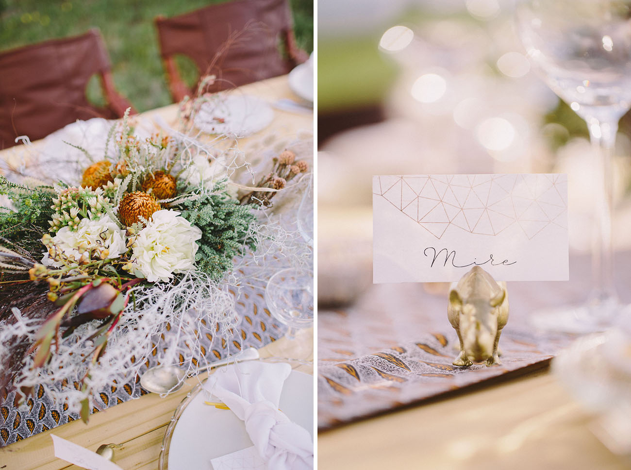 The centerpiece was done with various grasses, orange blooms and feathers
