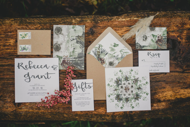 The wedding invitation suite was done with kraft paper and botanicals