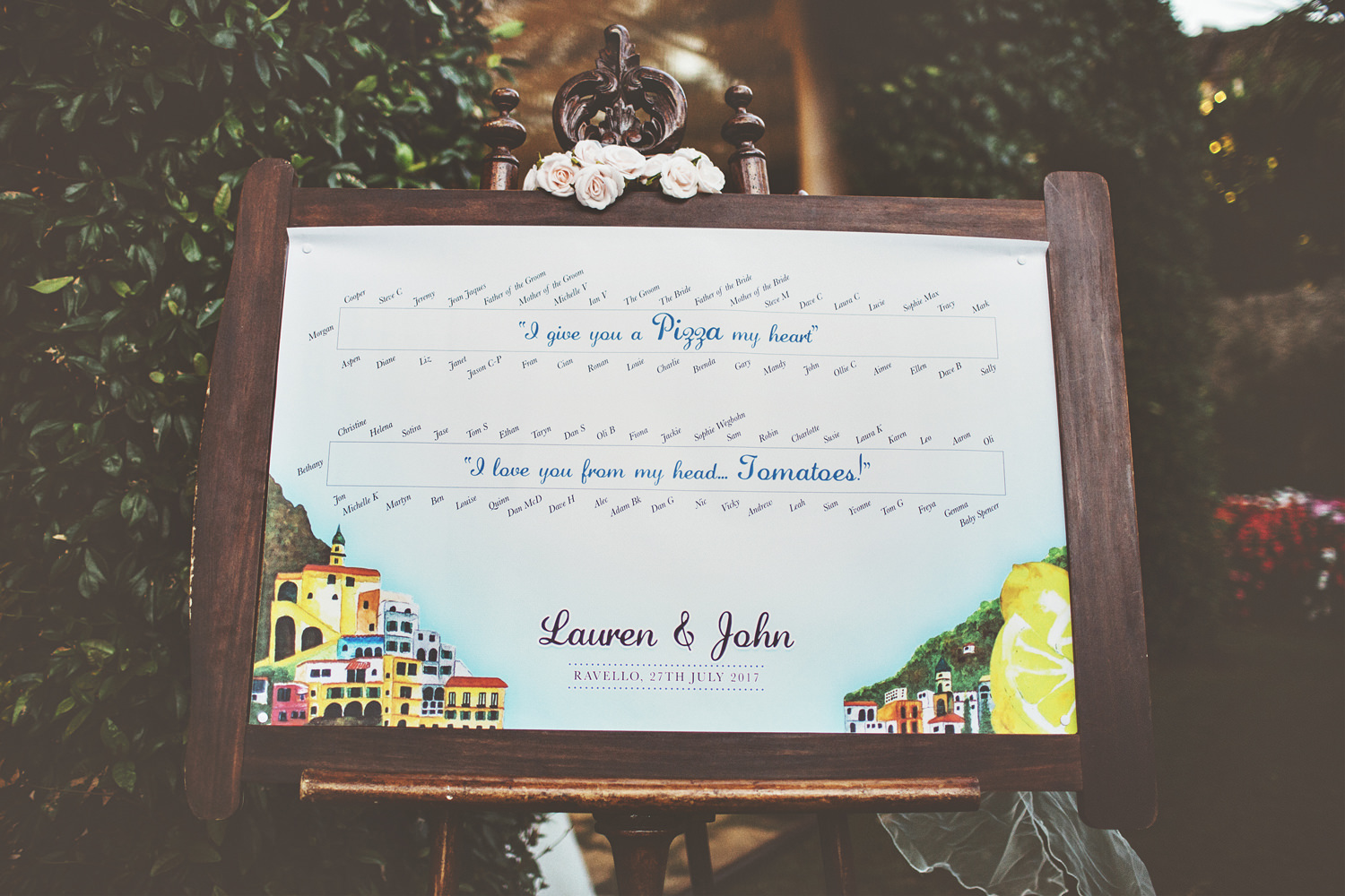 The wedidng stationery was handpainted by the best man in bold colors and with an Italian feel