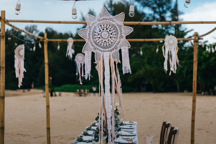 There were lights and macrame hanging over the reception space