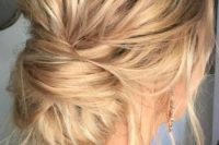 10 a very messy low bun, locks down and a messy volume on top will fit both long and medium hair