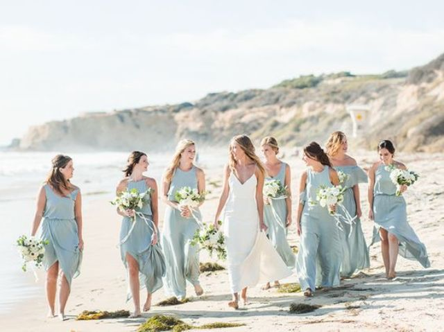 mismatching aqua-colored maxi and midi sresses with front slits and various necklines