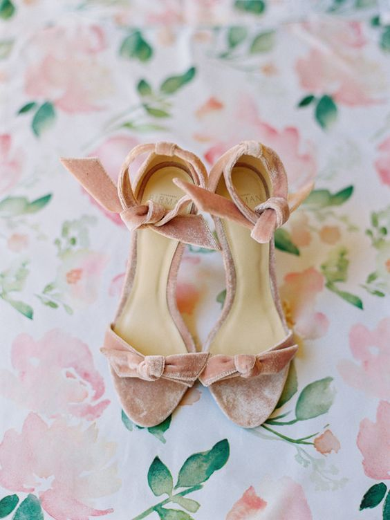 pink velvet heeled sandals are a cute idea to incorporate a trendy material into your wedding and look girlish and a bit retro