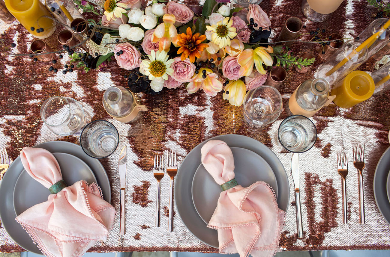 Chic textures and bold colors showed the couple at its best