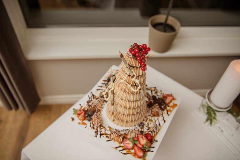 Kransakaka is a traditional Icelandic wedding cake, which was served at the reception