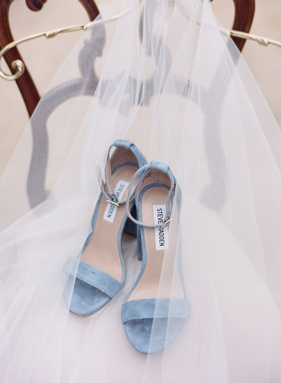 powder blue suede heeled sandals with ankle straps are very comfy and can be your 'something blue'