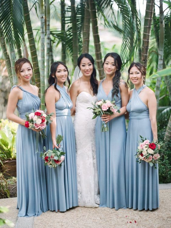 blue grey maxi dresses with various necklines look very cool and fresh