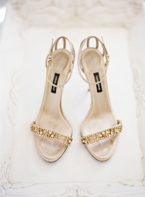 chic embellished gold heeled sandals with ankle straps are a gorgeous glam option