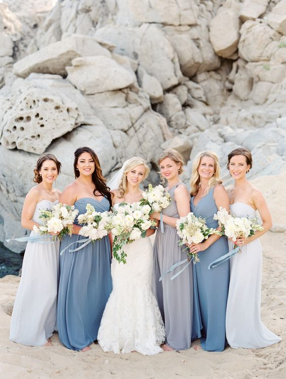 light grey, off-white and slate blue maxi gowns with thich straps or strapless ones
