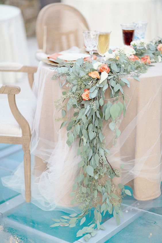 a gorgeous eucalyptus and peachy roses table runner looks very elegant and refined