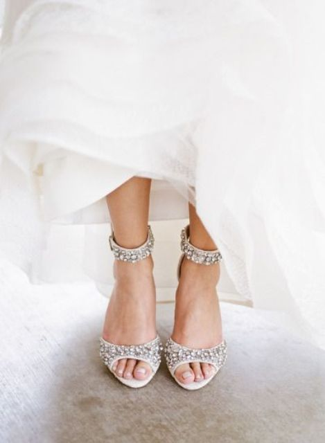 embellished ankle strap wedding heels are great to sparkle all over