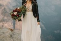 16 a bold semi sheer wedding dress and a handpainted black leather jacket for a statement