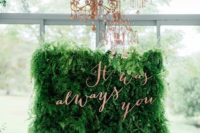 16 a lush living wall with copper calligraphy letters for sprucing it up a little bit