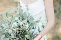 17 a silver eucalyptus and some herbs wedding bouquet for a soft and fresh look