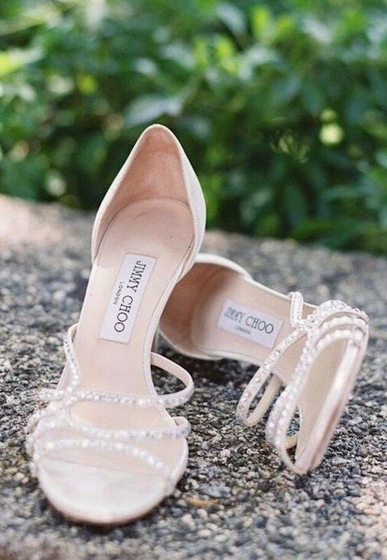amazing embellished wedding heels with a sparkling strappy top