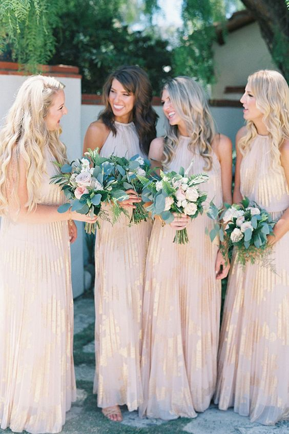 blush halter neckline maxi dresses with gold touches and light pleating for a glam touch