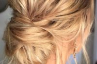 17 making such a messy low bun will take just a minute, leave some locks down to achieve an effortlessly chic look