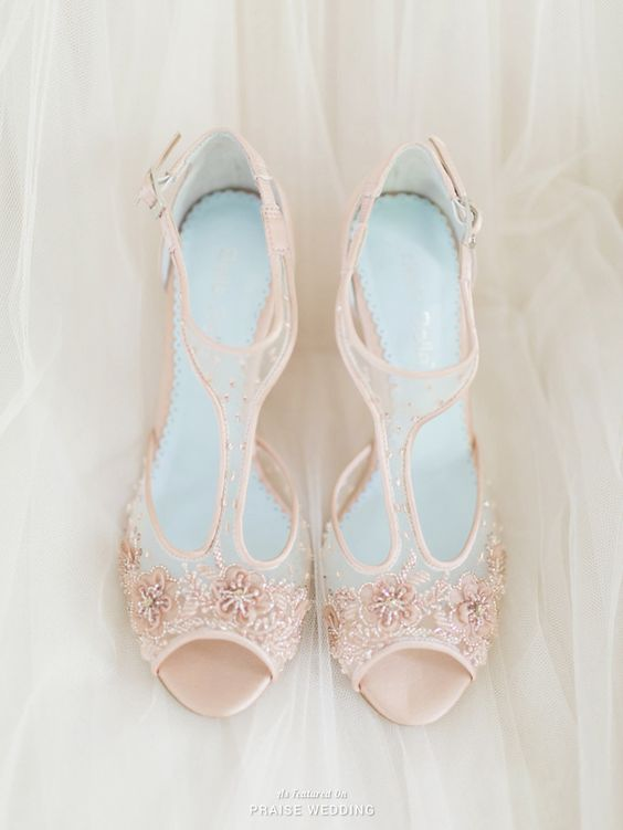 blush floral lace appliques with embellishments and ankle straps for a cute girlish look