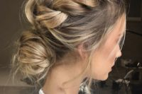 18 two sided braids on top plus a low bun with a bit of mess for medium or long hair