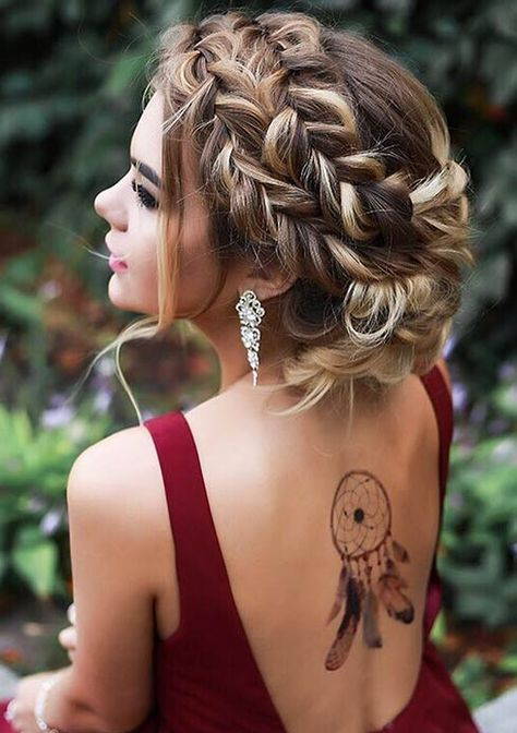 a gorgeous braided crown updo on long hair just takes the breath away