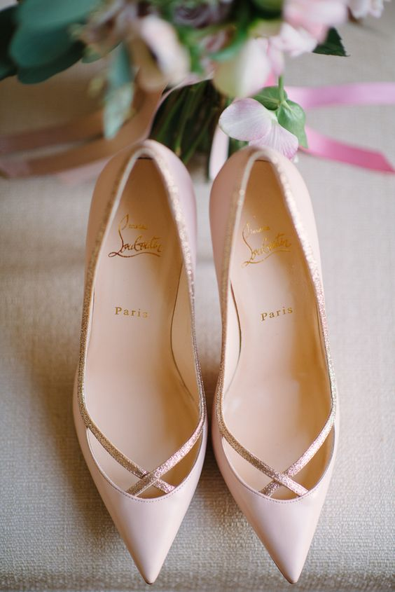 chic blush pointed toe heels with a touch of glitter by Christian Louboutin are a timelessly elegant choice