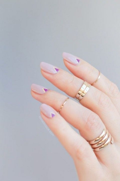 lilac nails with purple tirangle accents can fit a boho or mid century modern bride