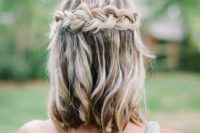 19 wavy hair down with a braided halo is a nice idea for those who have long bob