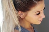 21 a chic braided ponytail on ombre hair for a gorgeous effortlessly chic look