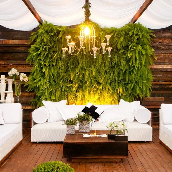 a lush fern wall over the wedding lounge is a gorgeous, trendy and very refreshing idea
