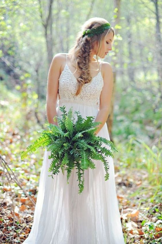 a simple fern wedding bouquet and a fern bridal halo to highlight the relaxed woodland look