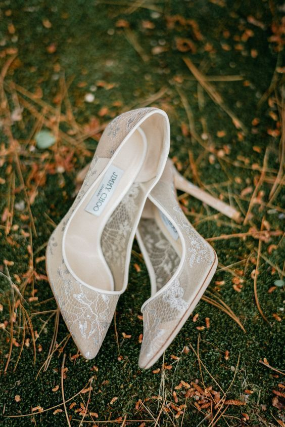 elegant lace wedding shoes by Jimmy Choo are a timeless and very refined choice