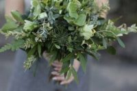 22 a textural bouquet of various kinds of herbs and greenery for a no fuss and casual modern bride