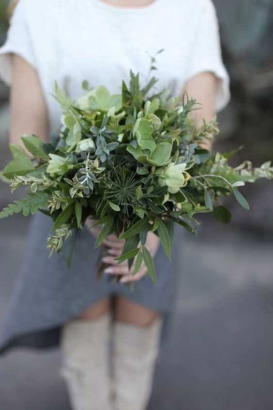 a textural bouquet of various kinds of herbs and greenery for a no fuss and casual modern bride