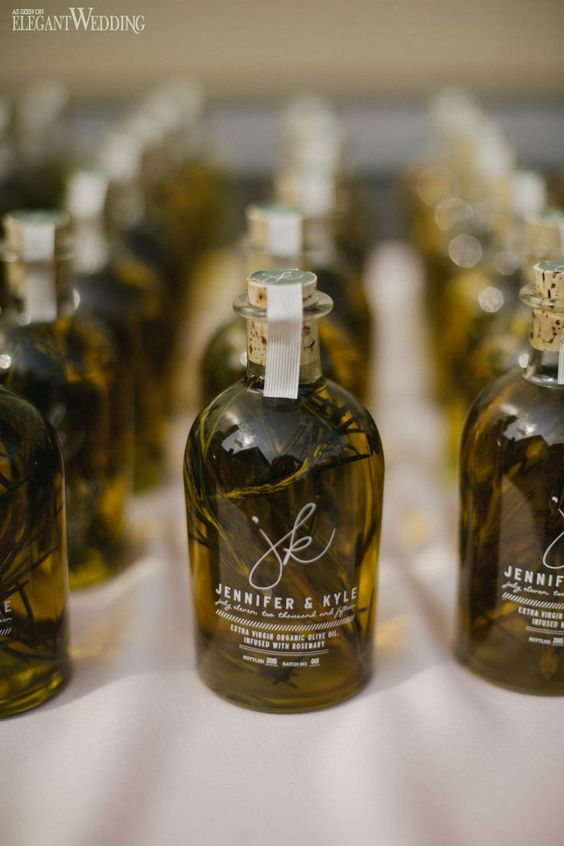 herb-infused olive oil is a great favor for many destination weddings but especially for Greek and Italian ones