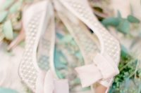 22 lovely elegant blush pink pearl bridal shoes with bows for a cute girlish touch