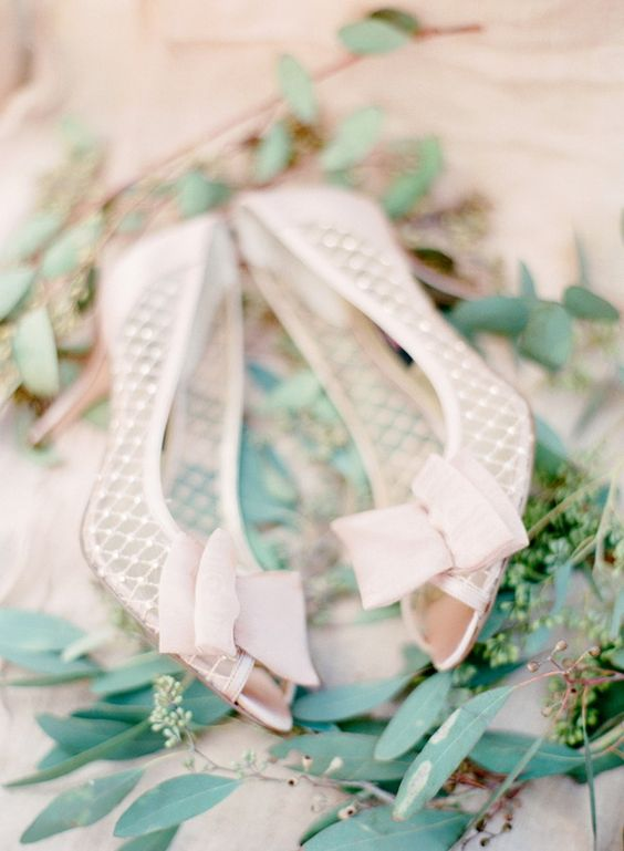 lovely elegant blush pink pearl bridal shoes with bows for a cute girlish touch