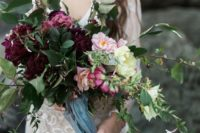 23 a textural wedding bouquet with greenery, blush, pink and burgundy blooms