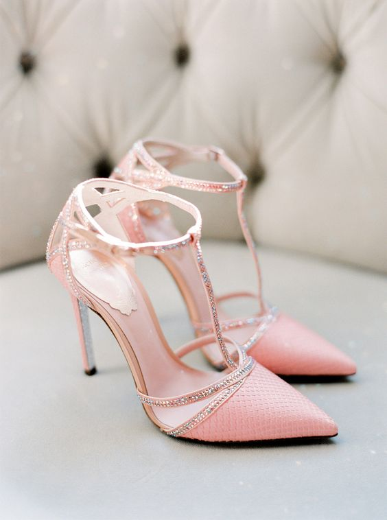 pink wedding heels with T ankle straps and embellishments are perfect for a glam bride