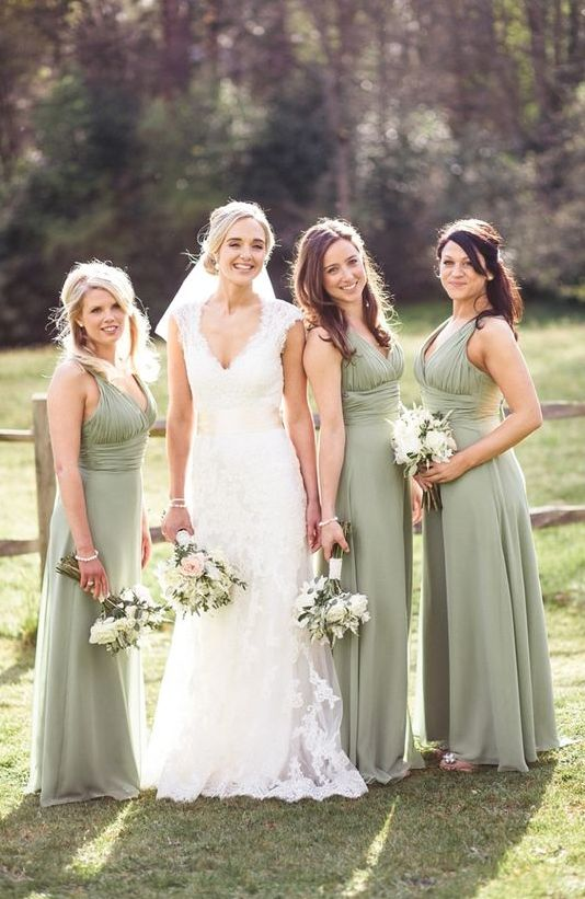 sage green thick strap maxi dresses with draped bodices for a soft and unobtrusive touch of color