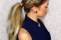 24 a low ponytail with a side brain and a small bump looks modern and bold