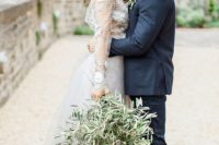 24 a wedding bouquet made of olive branches for a magical Italian wedding