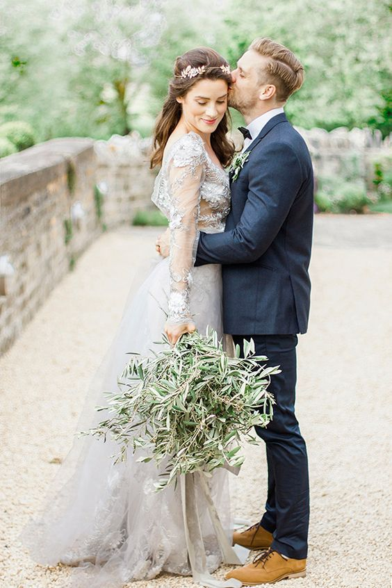 a wedding bouquet made of olive branches for a magical Italian wedding